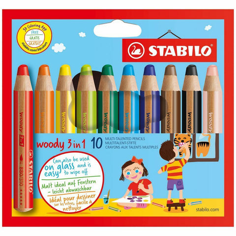 Stabilo Woody 3 in 1 colouring pencils pack of 10 with free shapener