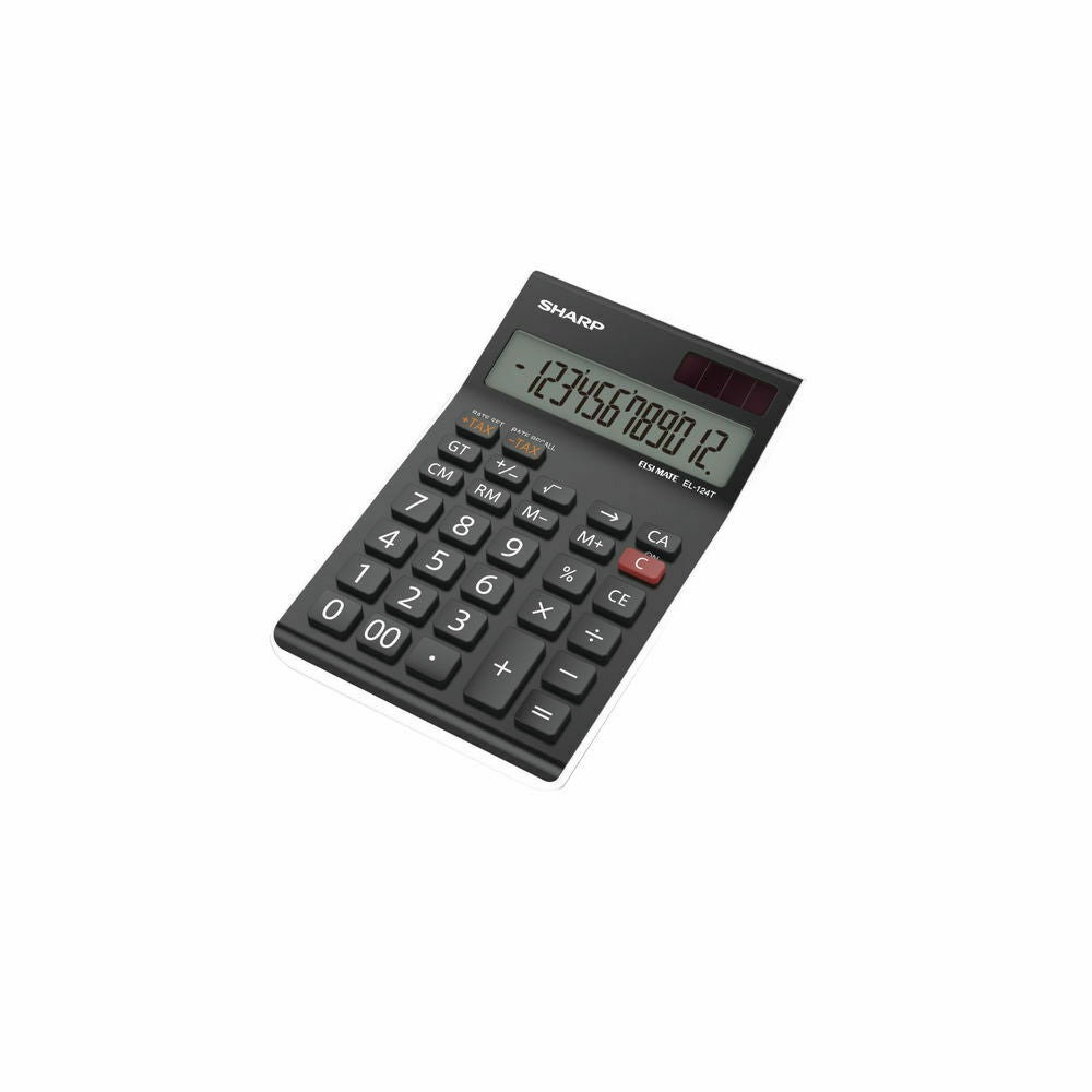 Sharp Black EL-124AT Desktop Calculator 12 digit Tax buttons memory