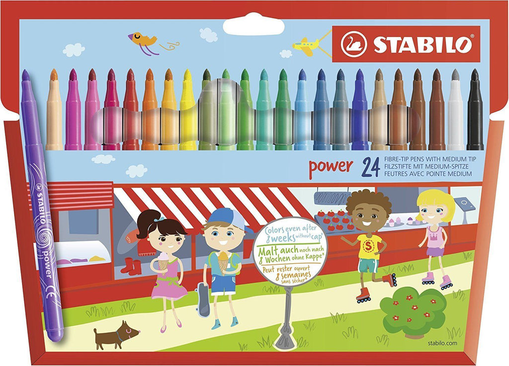 Stabilo Power Fibre Tip Felt Pens Asst Colours- Washable Felt Tips- Pack of 24