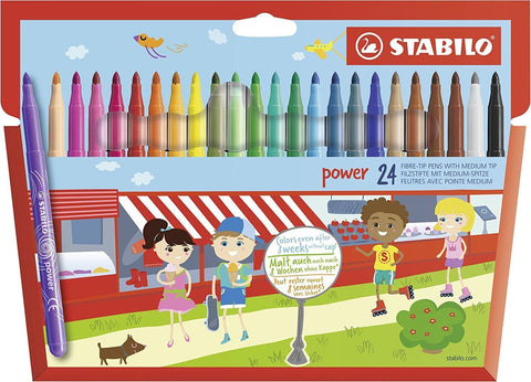 Stabilo Power Fibre Tip Felt Pens Washable Felt Tips - Pack of 24