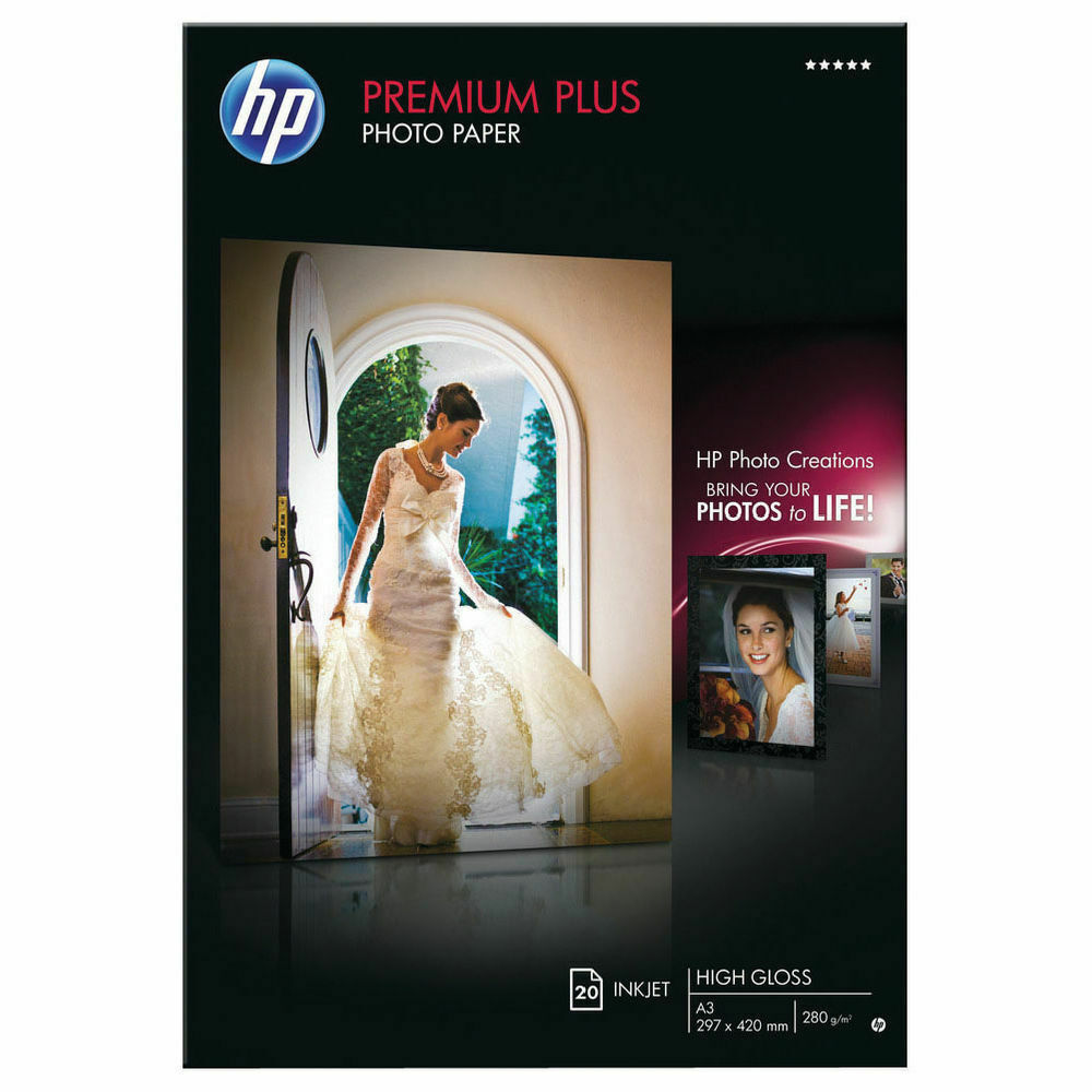 HP White A3 Premium Plus Glossy Photo Paper- Pack of 20