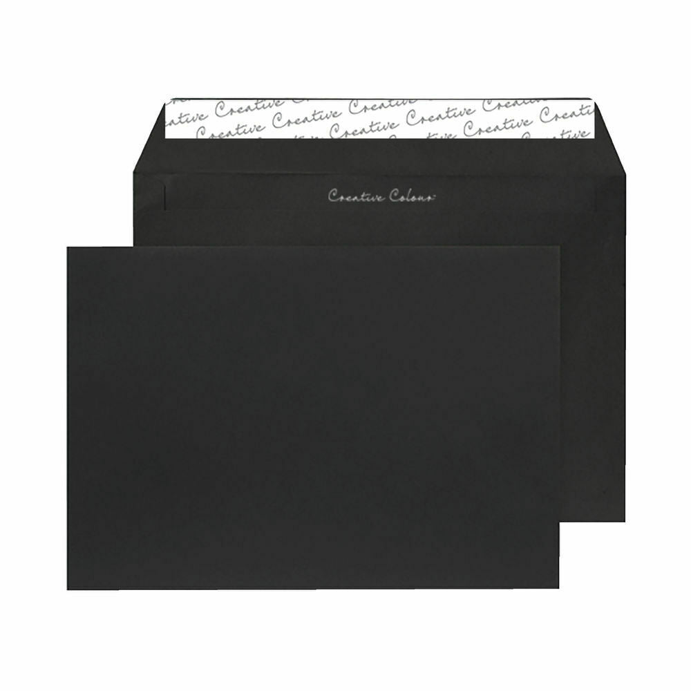 Wallet Envelope C6 Peel and Seal 120gsm Jet Black- Pack of 250