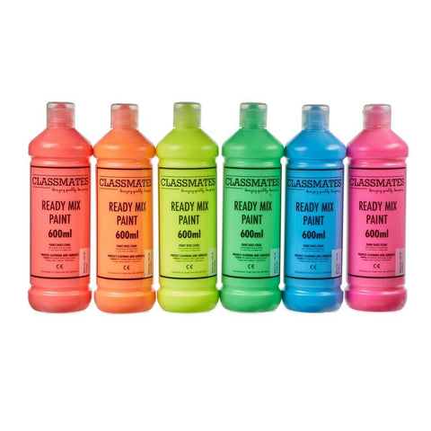 Ready Mixed Poster Paint Fluorescent Bright Colours- 6 x 600ml