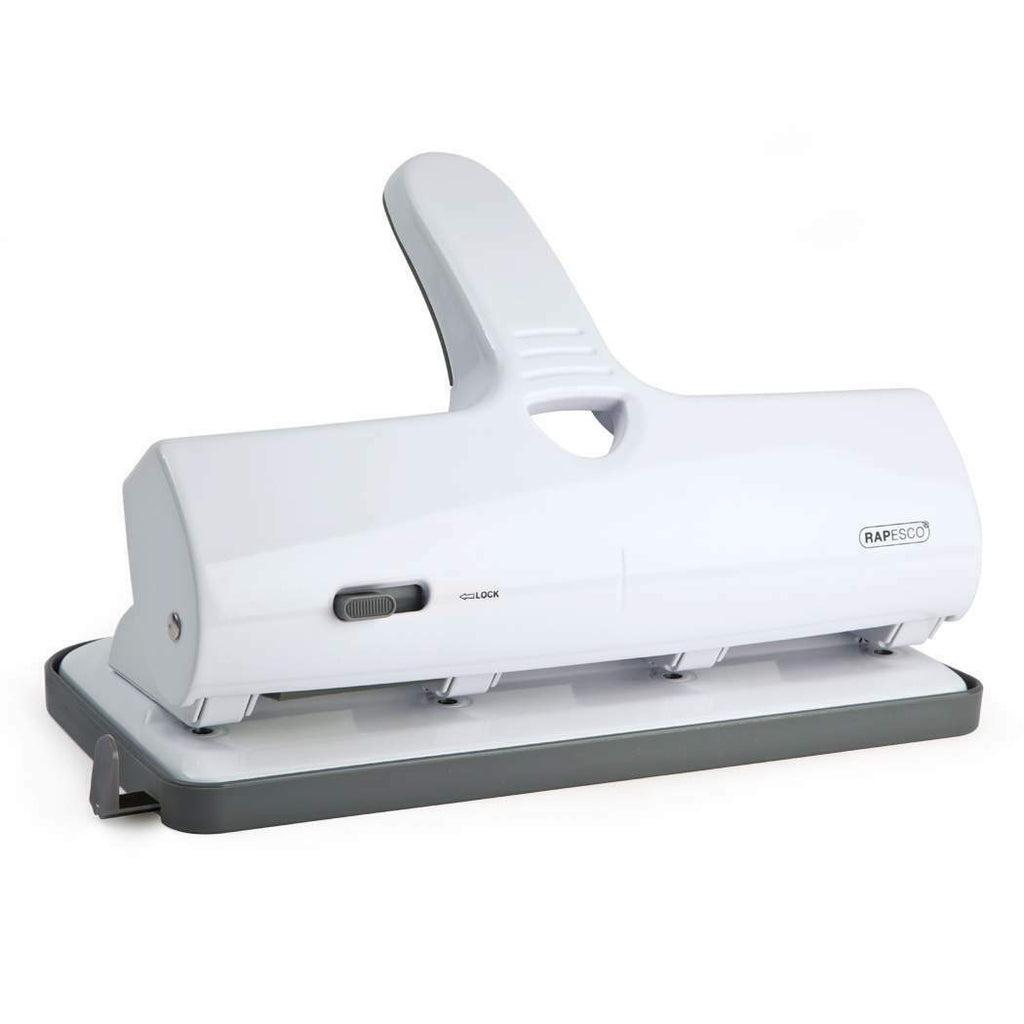 Rapesco ALU 40 Hole Punch Heavy Duty 4-Hole White Ref 1324 - 40 sheet capacity