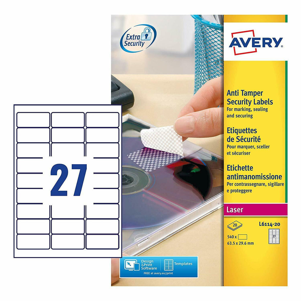 Avery Laser Anti-Tamper Resistant- 27 Labels Per Sheet- 20 Sheet Pack (L6114)