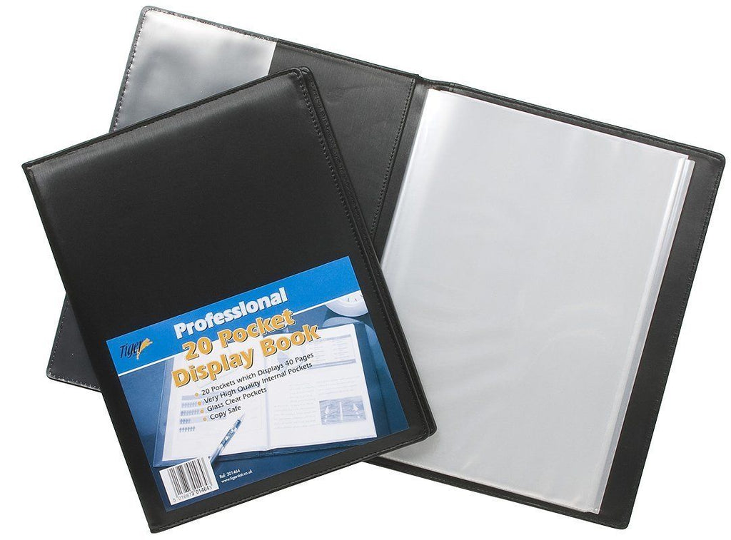 Black A4 Deluxe Satin Finish 20 Pocket Display Book- Quantity Choice