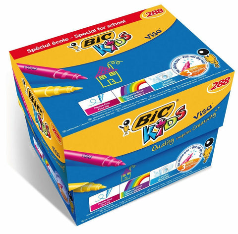 Bic Kids Visa Colouring Pens 24 Bright Colours- Box of 288