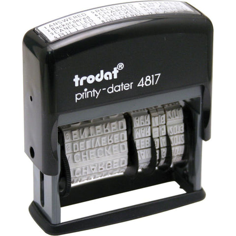 Trodat 4817 Self Ink Dial a Phrase Date Stamp -FAXED,PAID,RECEIVED,ETC
