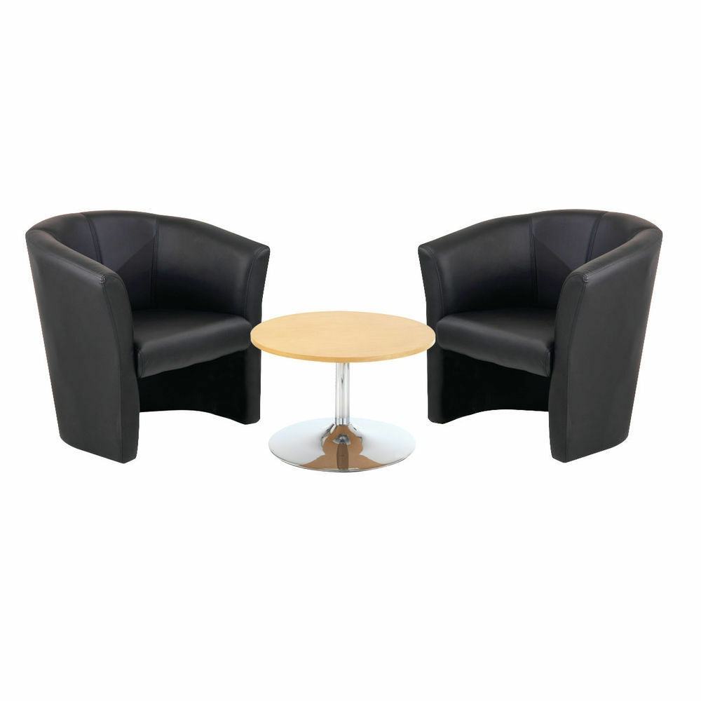 Low Beech Trumpet Coffee Table and x 2 Tub Chairs Black Vinyl