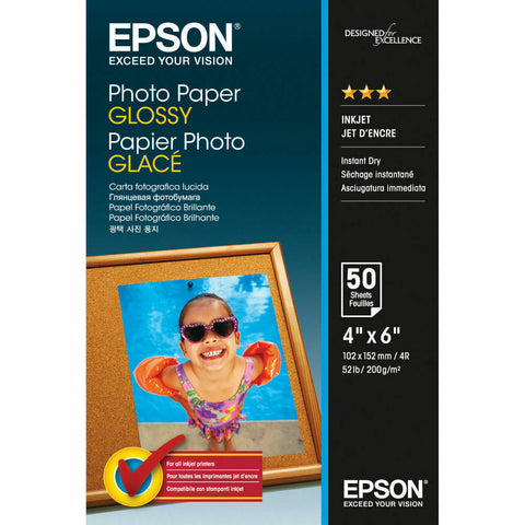"Epson 10cm x 15cm (6"" x 4"") Glossy Photo Paper 200gsm- 50 Sheets"