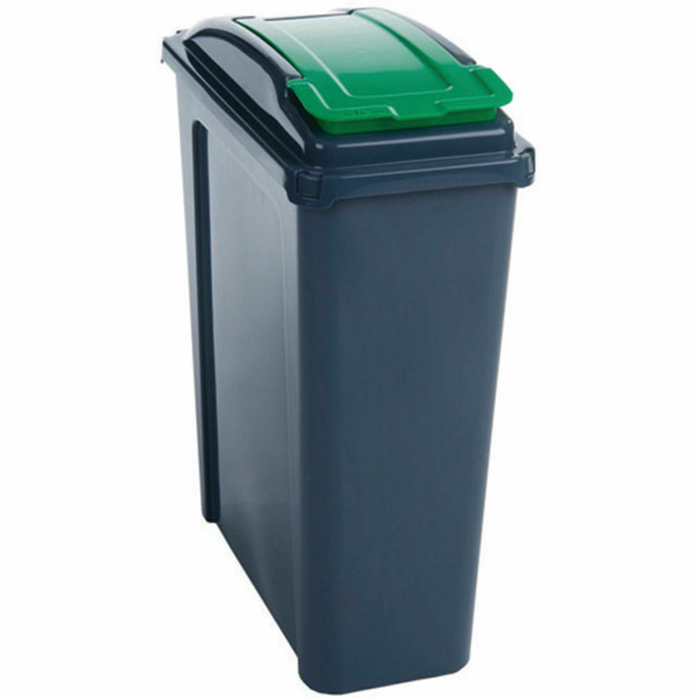 VFM Recycling Bin With Lid 25 Litre- Green