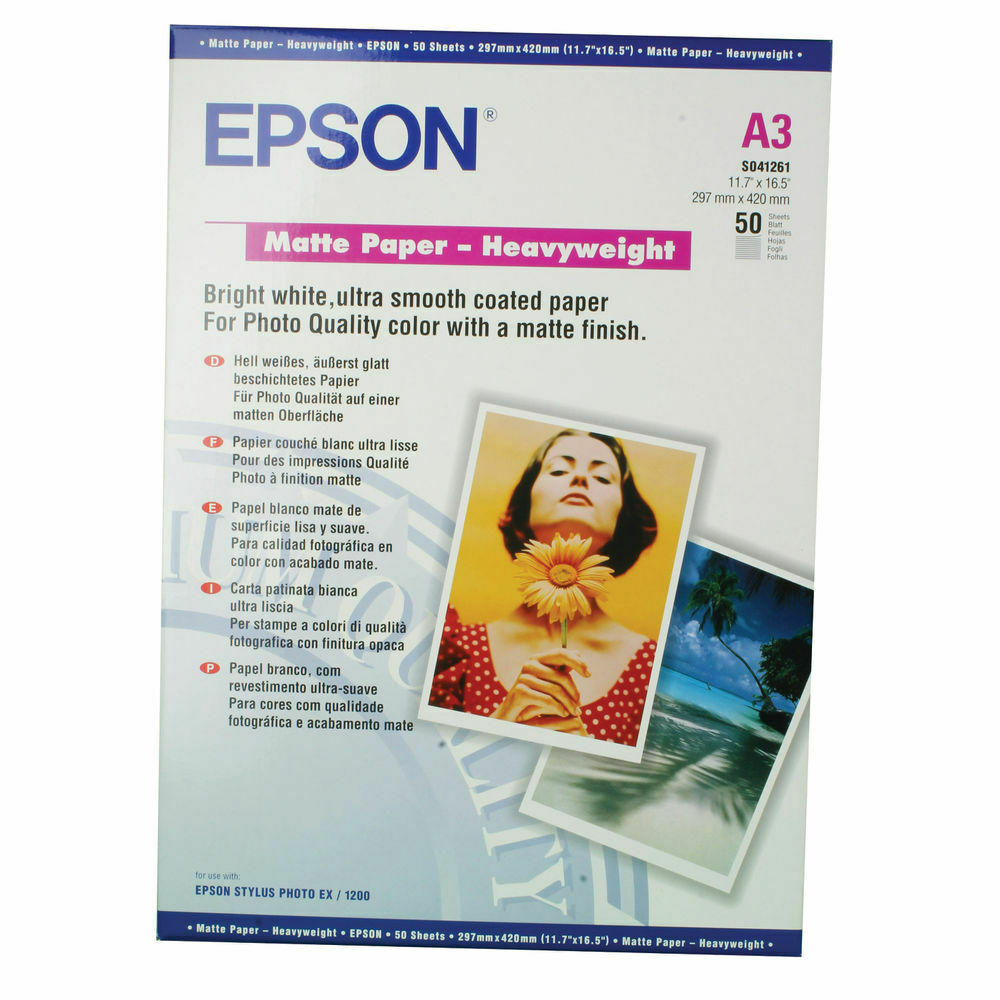 Epson A3 Heavy Weight Matte Paper 167gsm- Pack of 50 Sheets