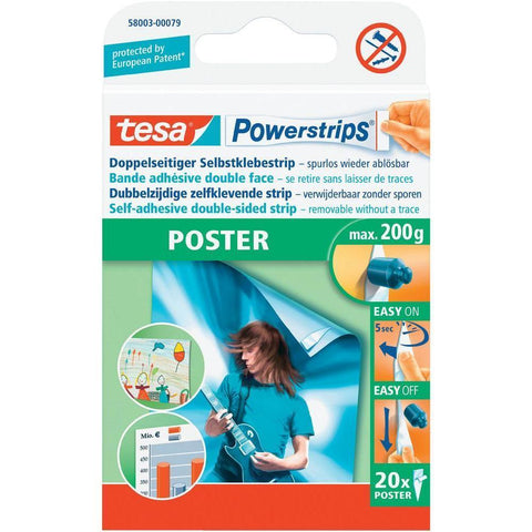 Tesa Powerstrips Poster Double-Sided Removable Strips- Max Weight 200g
