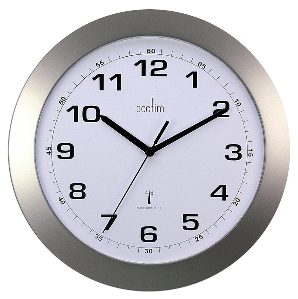 Acctim Cadiz Radio Controlled Wall Clock - Silver- Office, Kitchen, House