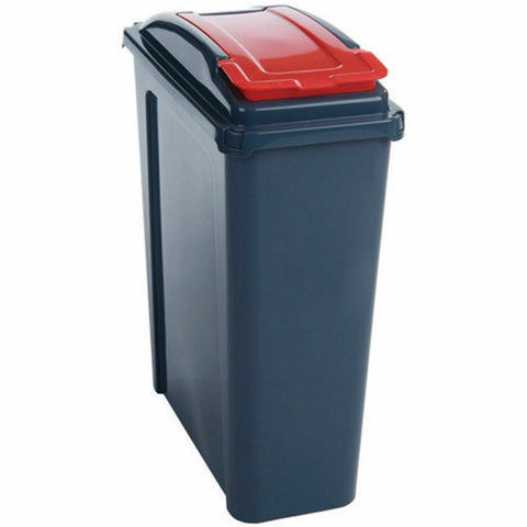 VFM Recycling Bin With Lid 25 Litre - Red