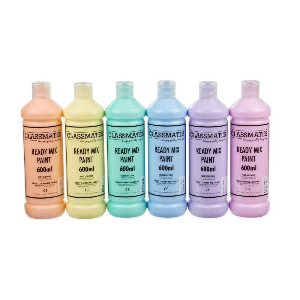 Ready Mixed Poster Paint Pastel Colours- 6 x 600ml