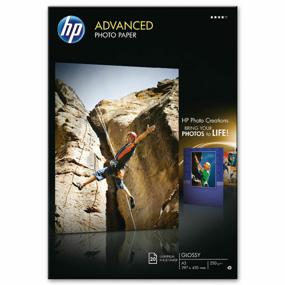 HP A3 Advanced Glossy Photo Paper 250gsm - Pack of 20 Sheets