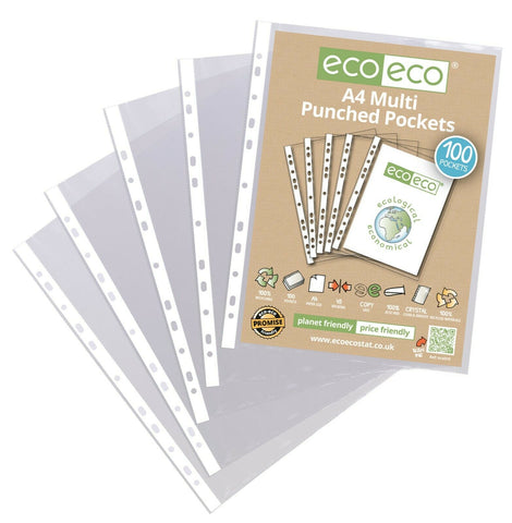 Eco-Eco A4 100% Recycled Smooth Clear Punched Plastic Pockets- Pack Of 100
