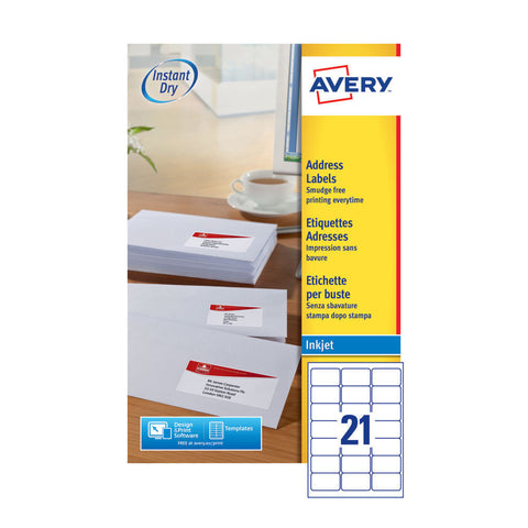 Avery QuickDry Inkjet Label 63.5x38.1mm 21 per Sheet- Pack of 25