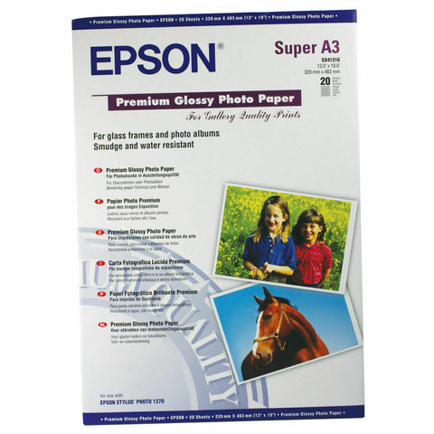 Epson A3+ Premium Glossy Photo Paper 250gsm- 20 Sheets (C13S04131)