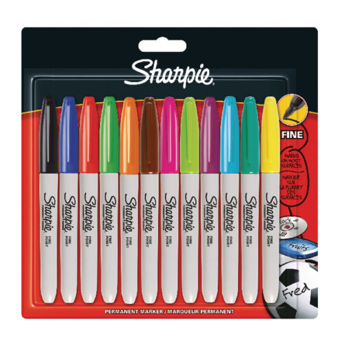 Sharpie Marker Pens Pack 12 Assorted Colours Fine Point