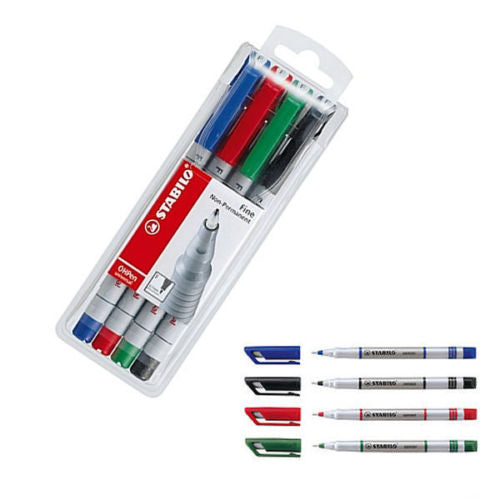 Stabilo Write-4-All Permanent Markers 156/4- Fine- Pack of 4