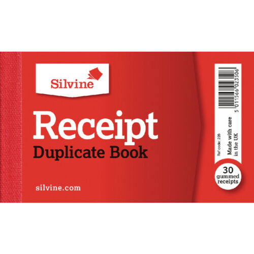 Silvine Duplicate Receipt Book 63x106mm Gummed- Pack of 36 books