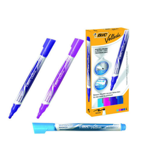 Bic Velleda Liquid Ink Fashion Drywipe Markers - Pack of 4 Assorted