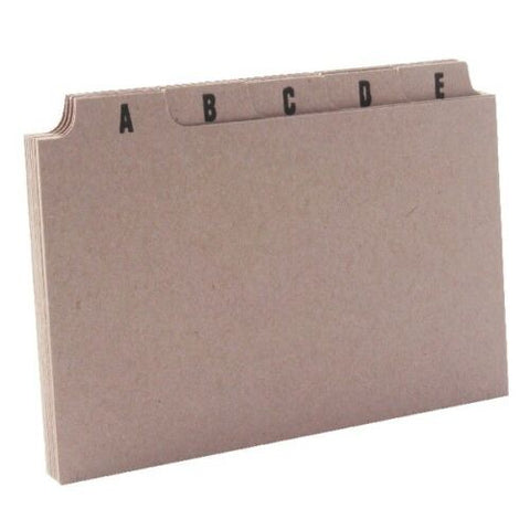 Q Connect A-Z Buff Tabbed Guide Cards / Index For Card Boxes - Choice of 3 sizes
