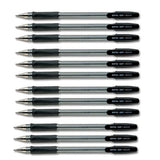Pilot Medium Black BPS GP Ball Pen Rubberised Grip- Pack 12