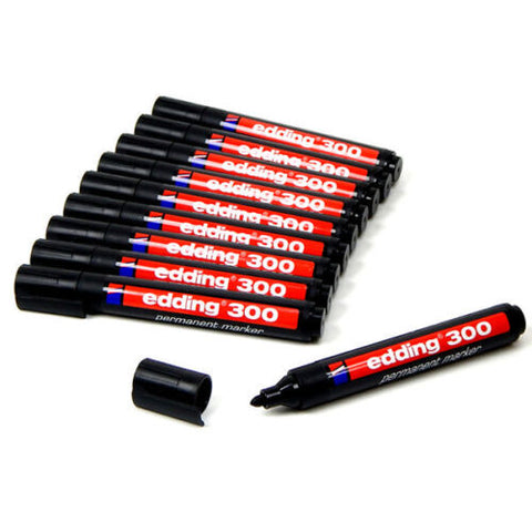 Edding 300 Bullet Tip Permanent Marker Pens Black- Pack of 10