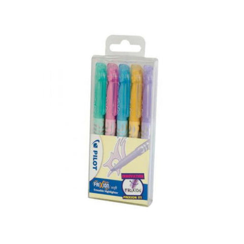 Pilot Frixion Light Soft Pastel Erasable Highlighters -Assorted Wallet of 5 Pens