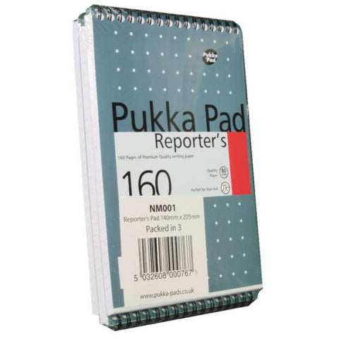 Pukka Pad Reporters Shorthand Notebook 80gsm 160 Pages- Pack of 3
