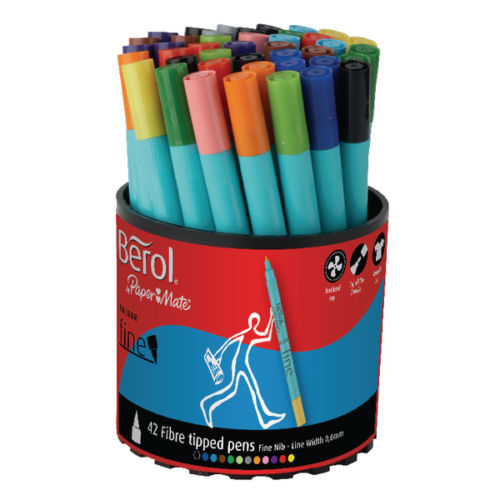 Berol Pens Fine Colouring Felt Tip Washable Ink- Pack of 42