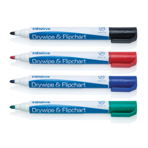 Initiative Drywipe Whiteboard/Flipchart Marker Pens Pack of 10- Colour choice