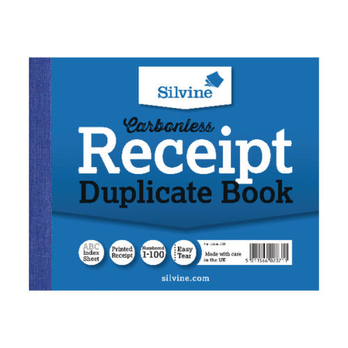 Silvine Duplicate Carbonless Receipt Book- Pack of 12