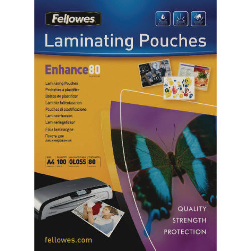 Fellows 160 or 250 Micron Clear Gloss Laminating Pouches A3 or A4- Quantity Choice