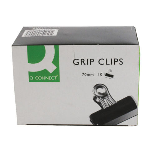Jumbo Bulldog Grip Clips 70mm Black & Chrome- Pack of 10