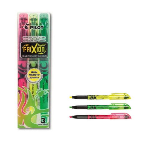 Pilot FriXion Assorted Bright Erasable Highlighter Pens Yellow, Green & Pink x 3
