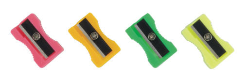 Plastic Pencil Sharpeners 4 Assorted Colours- Pack of 20