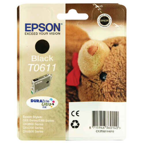 Epson T0611 Ink Cartridge Toner- Black