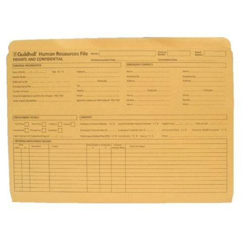 Guildhall Human Resources Wallet Card File Pre-Printed- Quantity Choice