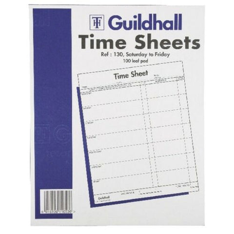 Guildhall Time Sheets 100 Leaf Pad - Saturday to Friday - 10 x 8 inches