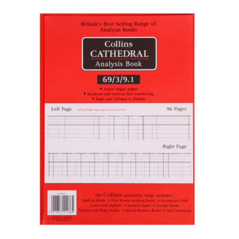Collins Cathedral Analysis Book Petty Cash 96 Pages 69/3/9.1