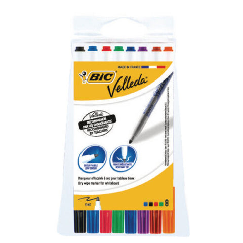 Bic Velleda Whiteboard Marker 1721 Fine Tip Assorted Pack Of 8
