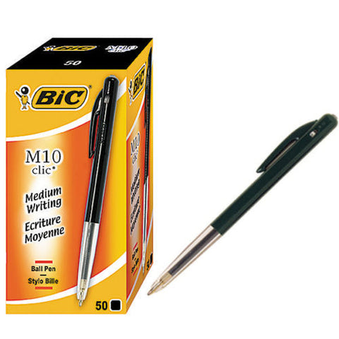 Bic M10 Clic Medium Black 1.0mm Ball Pen- Pack of 50