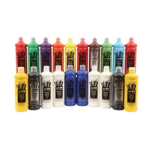 Poster Paint Brain Clegg Washable Ready Mixed x 20, 600ml Bottles