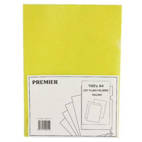 Plastic A4 Cut Flush Folders Top + Side Opening- Pack Of 100- Colour Choice