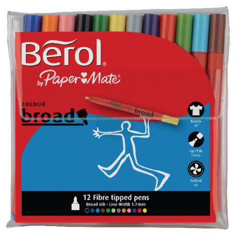 Felt Tip Berol Pens Broad Colouring Washable Ink School Art Drawing Pack of 12