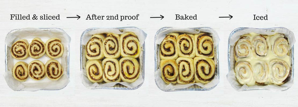 Cinnamon Scrolls: Stages of 2nd rising & baking